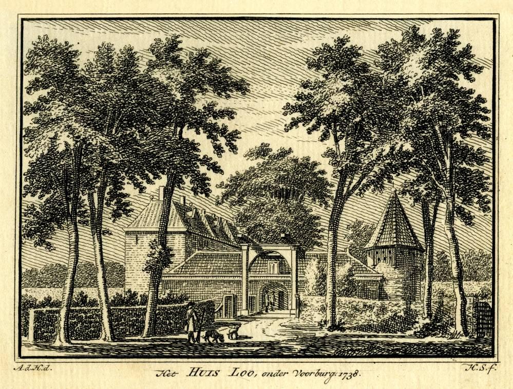 Huis Loo in Voorburg. Tekening Abraham de Haen, gravure Hendrik Spilman(Uit: Het Verheerlykt Nederland, Isaac Tirion, 1745/1774)